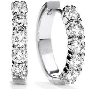 3 ct Sparkling round cut diamonds ladies HOOP earr